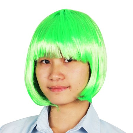 Green Synthetic Fiber Hairpiece bob Hairstyle Short Wig - Simple Halloween Hairstyles