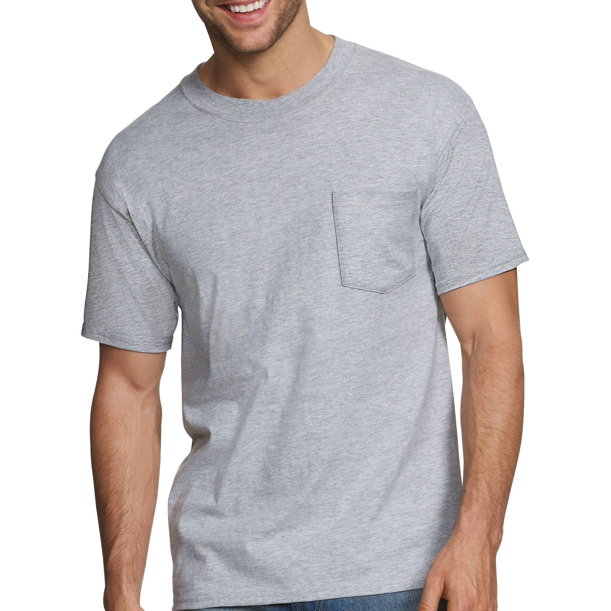 Hanes Men's FreshIQ White ComfortBlend Pocket T-Shirts 3-Pack