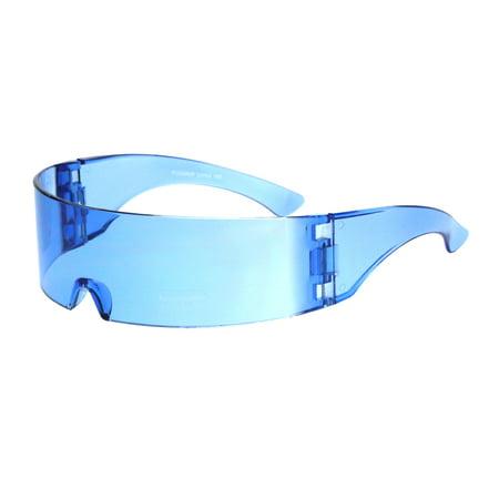 Cyber Punk Cyclops Shield Neon Color Lens Plastic Warp Sunglasses Blue (Cheap Neon Sunglasses)