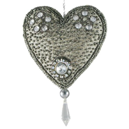 Set of 4 Hand Crafted Elegant Silver Bead Encrusted Silk Heart Christmas Ornaments - Christmas Ornament Craft