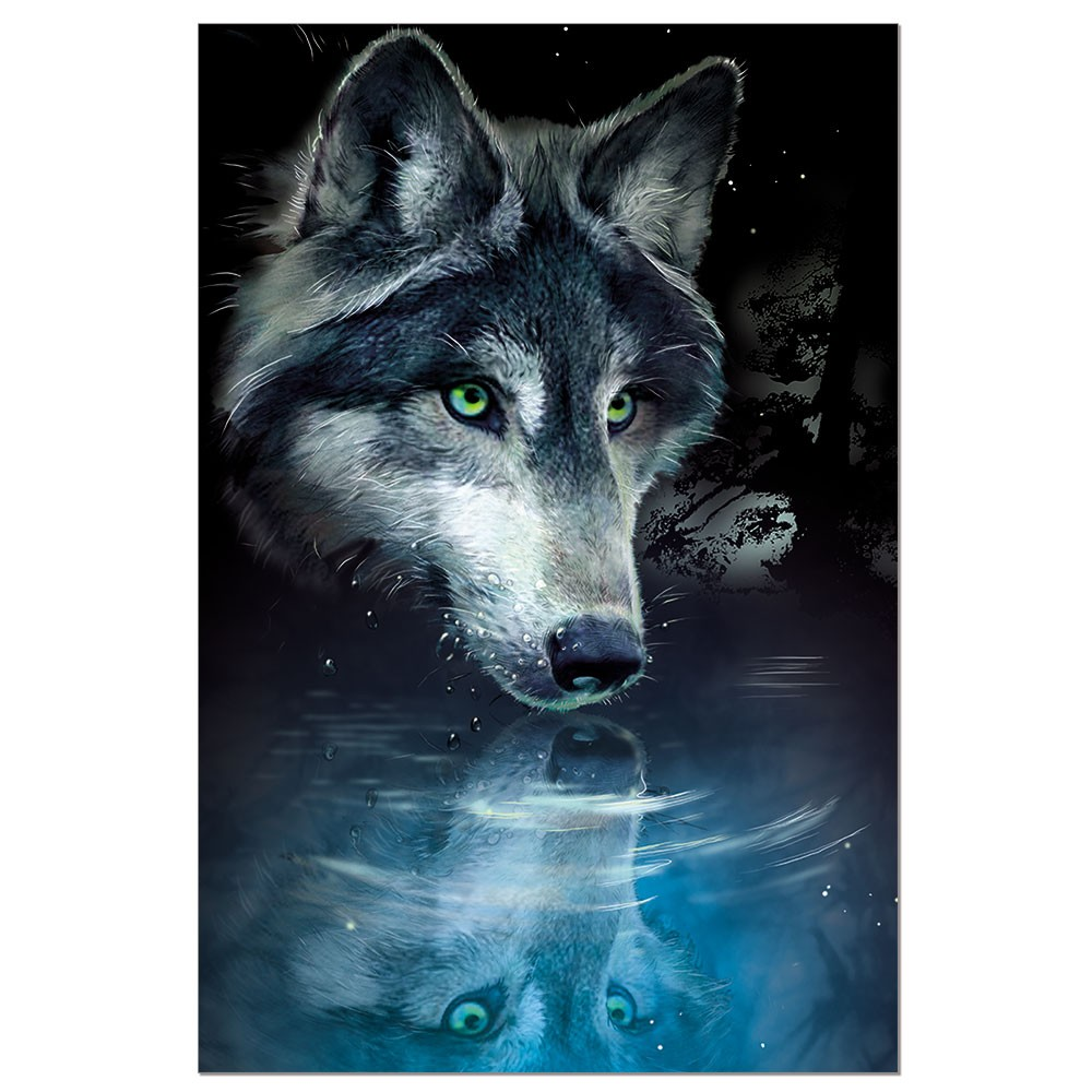 Tree-Free Greetings Wolf Reflection Boxed ECOnotes Blank Note Cards-FS56270