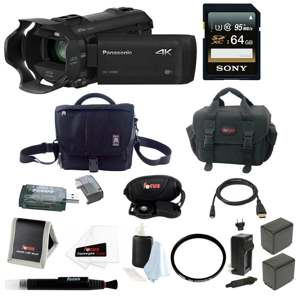 Panasonic HC-VX981K 4K Ultra HD Camcorder w/ Wasabi 2 Batteries & Charger Bundle