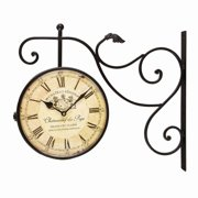 Adeco Trading Vintage-Inspired Round Double Sided Wall Hanging Clock