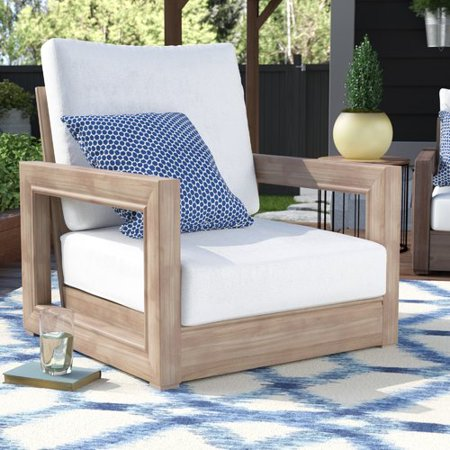 Brayden Studio Constance Teak Outdoor Patio Furniture Club Chair with  Cushions - Brayden Studio Constance Teak Outdoor Patio Furniture Club Chair