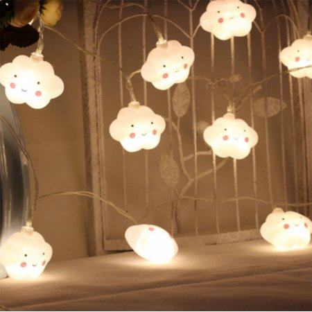 """Battery-operated Cloud lights (20 LED light, Runs on 3 AA batteries);Total Length: 140"""" long. Great for décor. Indoors/ outdoors accent light"""