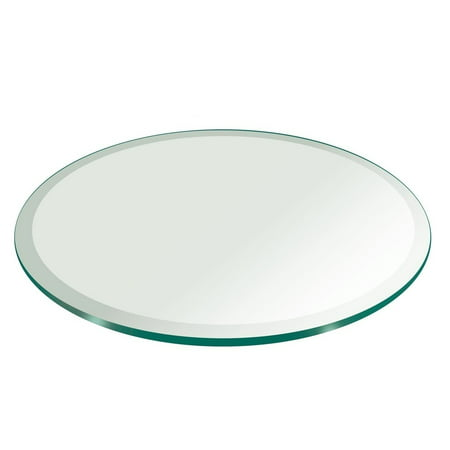 Beveled Glass Top Table - 62 Inch Round Tempered Glass Table Top 1/2