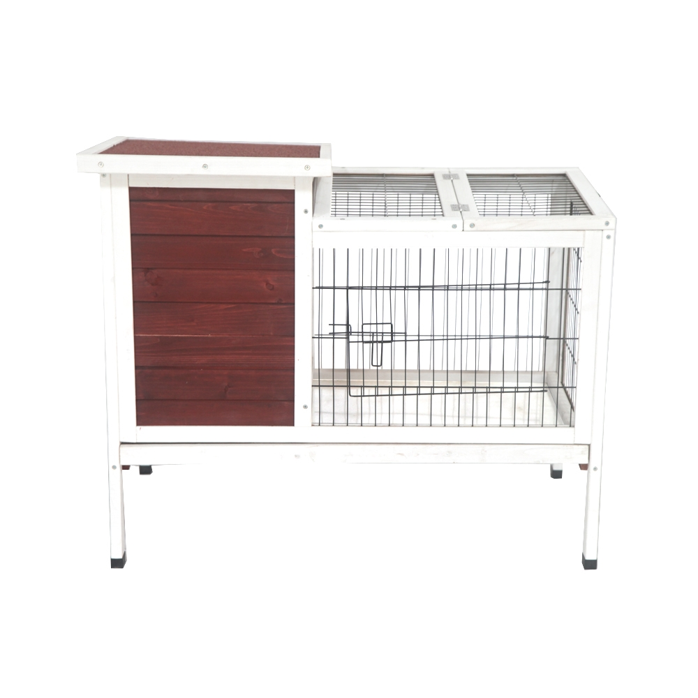 ALEKO Fir Wood Chicken Coop or Rabbit Hutch with Small Chicken Run 36 x 22 x 30 Inches Red and White by ALEKO