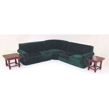 Dollhouse Corner Couch Set In Green (5Pcs)