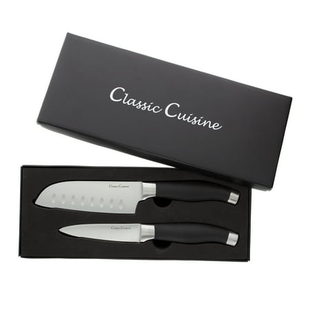 Professional Quality 2 Piece Stainless Steel Hand Forged Knife Set- 5 Inch Santoku Knife, 4 Inch Paring Knife for Home and Restaurant by Classic