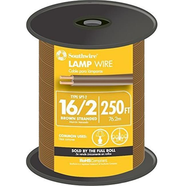 Southwire 49914544 250 ft. 16 Gauge 2 Lampwire, Brown