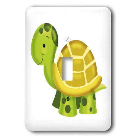3dRose Adorable Baby Turtle Nursery Illustration - Single Toggle Switch 16a Single Outlet