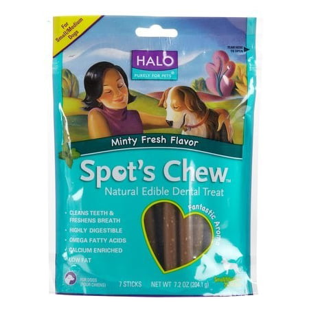 Halo Purely For Pets Spot's Dental Chew Minty Fresh Flavor Small & Medium Breed Dental Dog Treats, 7 Ct