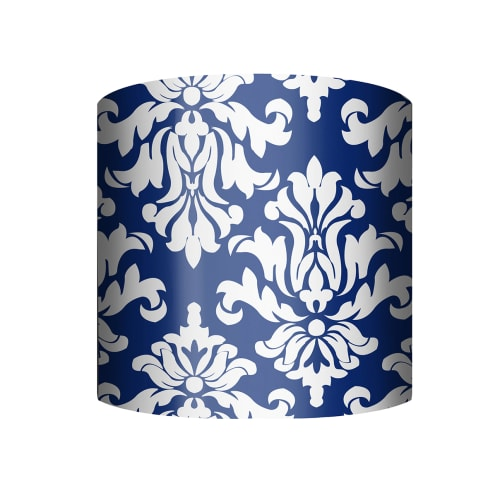 "PTM Images 10-0028 Damask 10"" Tall x 12"" Wide Cylinder Fabric Lamp Shade with Spider Fitter"