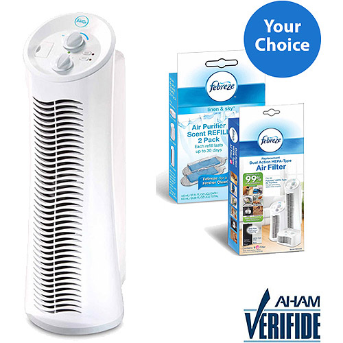 Febreze Mini Tower Air Purifier, White, FHT180W Solution Bundle