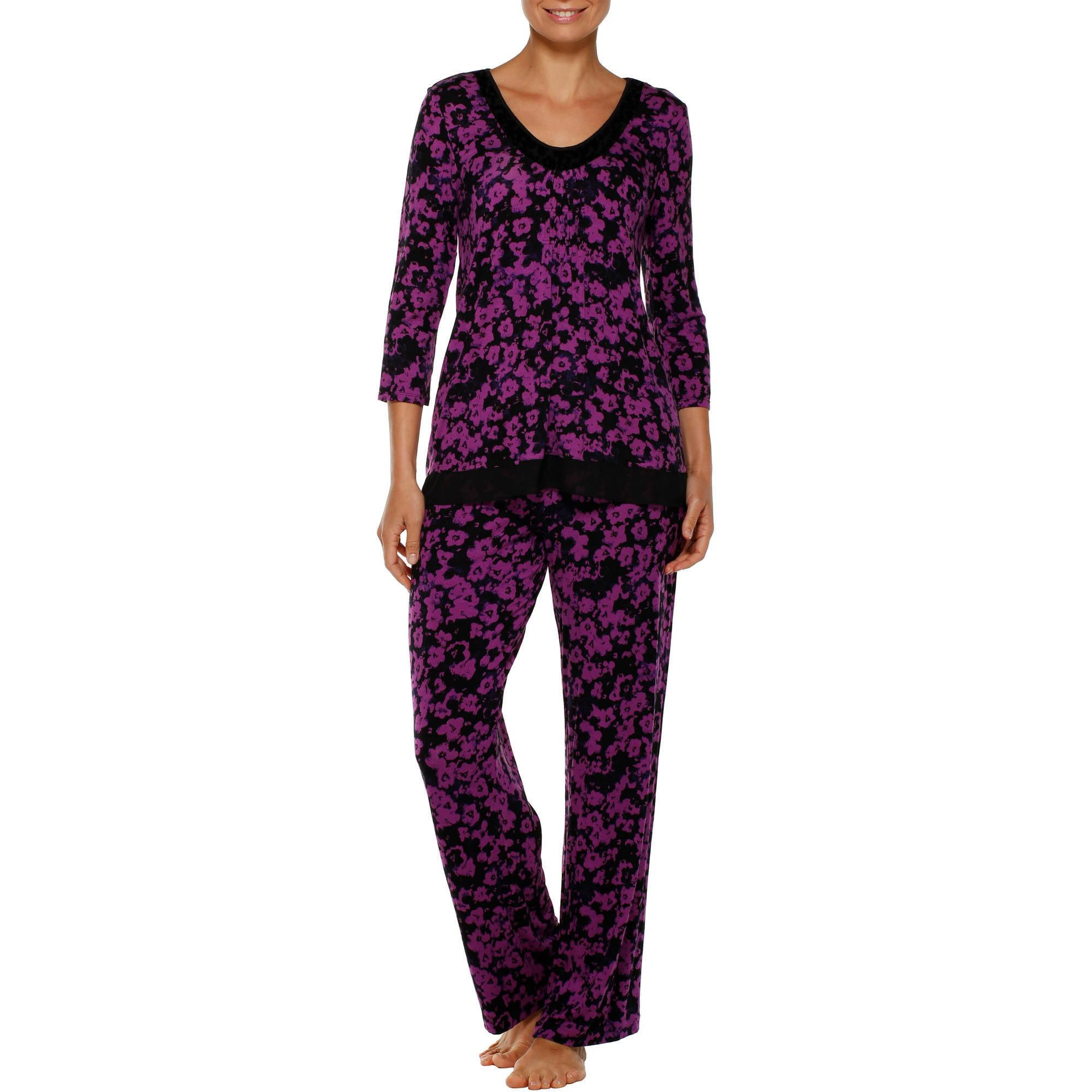 Secret Treasures Women's Rayon Long Sleeve Pajama Top with Rayon Sleep Pant 2 Piece Sleepwear Set