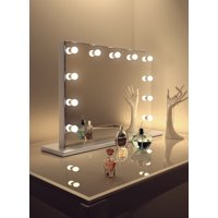 Diamond X Hollywood Makeup Mirror in Silver Edge with Dimmable LED - k85M
