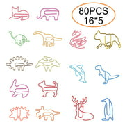 80 Counts Coated Paper Clips Cute Paper Clips Animals Shaped Bookmark Clip Funny Paper Clips Assorted Colors for Office School Supplies Paperclips Large for Party Card Invitation Decoration