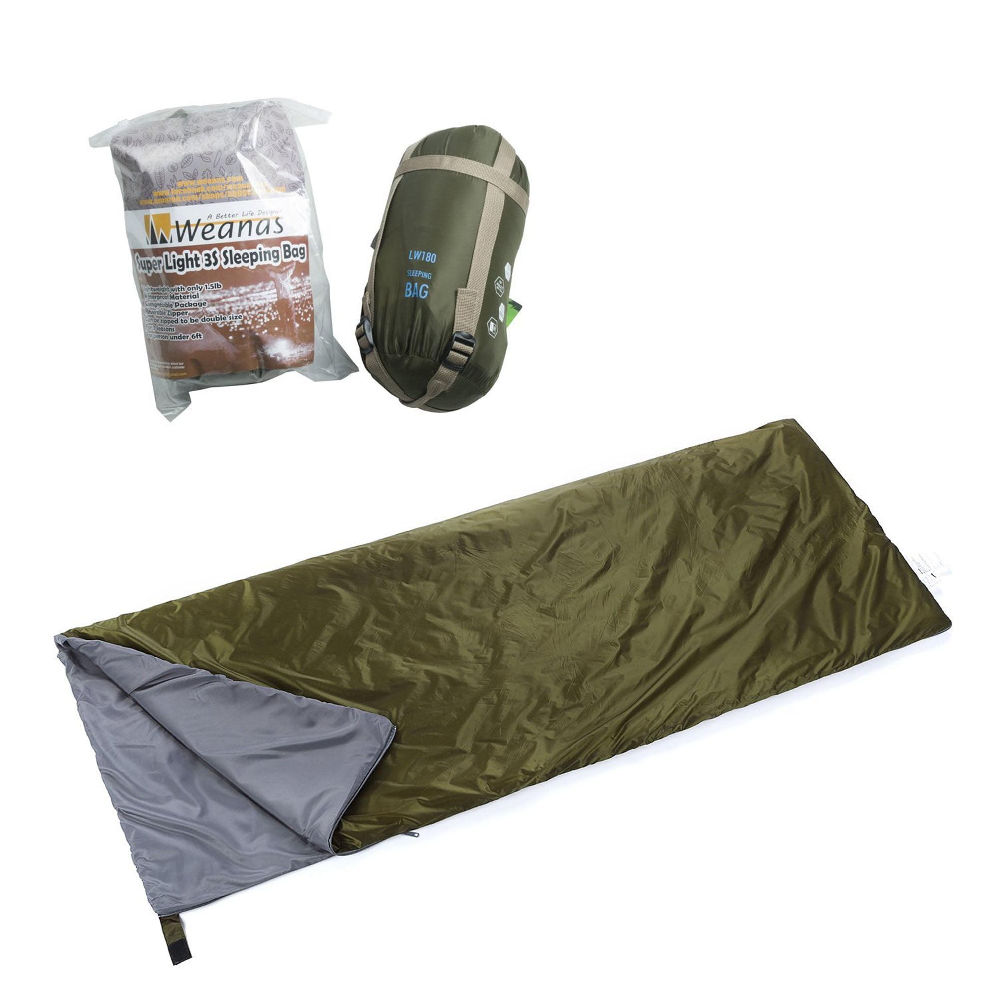 WEANAS Compact Camping Envelope Sleeping Bag Comfortable Durable Waterproof for Summer School Hiking Backpacking Travel... by Weanas