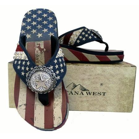 7aacfcb54 Montana West - Montana West Women Flip Flops American Flag Pride Star Concho  Wedge Sandals Navy - Walmart.com
