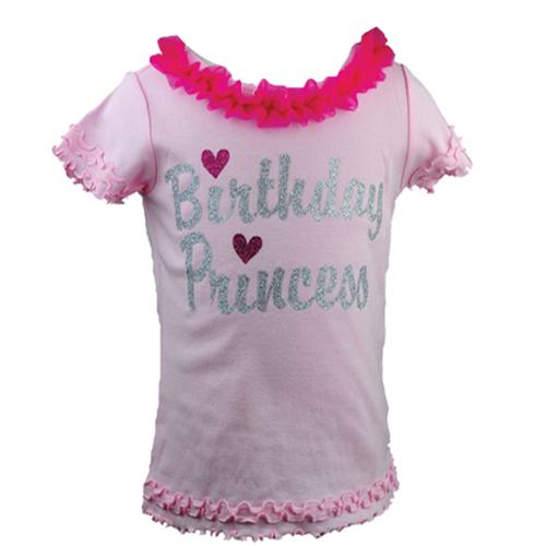 Reflectionz Baby Girls Fuchsia Silver Birthday Princess Ruffle Tee 12 - 18M
