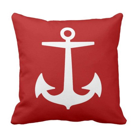 WOPOP Red Boat Pixdezines Anchors Diy Nautical White Ocean Pillowcase Cover 16x16 inch for $<!---->