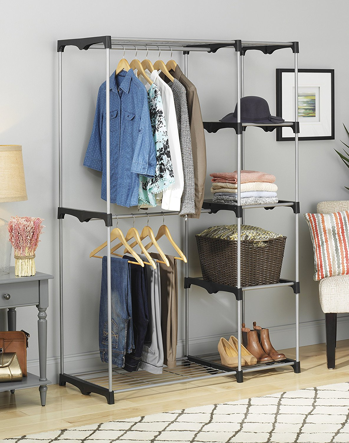 High Quality Double Rod Freestanding Closet, Silver/Black Image 4 Of 4