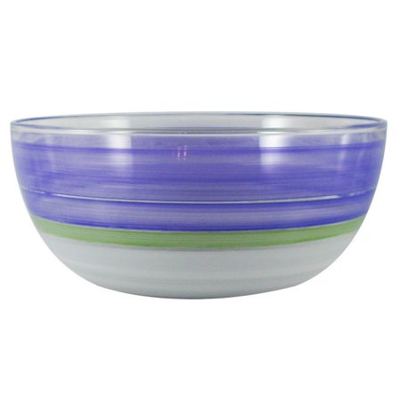 Purple Retro Stripe Hand Painted Glass Serving Bowl 11