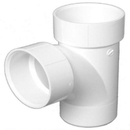 "Charlotte Pipe & Foundry PVC 004030600HA Sanitary Street Tee, 1.5"", White"