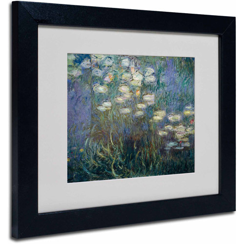 "Trademark Fine Art ""Water Lilies 1840-1926"" Canvas Art by Claude Monet, Black Frame"
