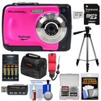 Bell & Howell Splash WP10 Shock & Waterproof Digital Camera (Pink) with 16GB Card + Batteries & Charger + Case + Tripod + Floating Strap + Reader Kit