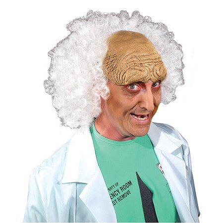 Mad Scientist White Halloween Wig, - Mad Scientist Halloween Party Food
