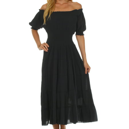 Sakkas Cotton Crepe Smocked Peasant Gypsy Boho Renaissance Mid Length Dress - Black - One Size - Silk Smocked Dress