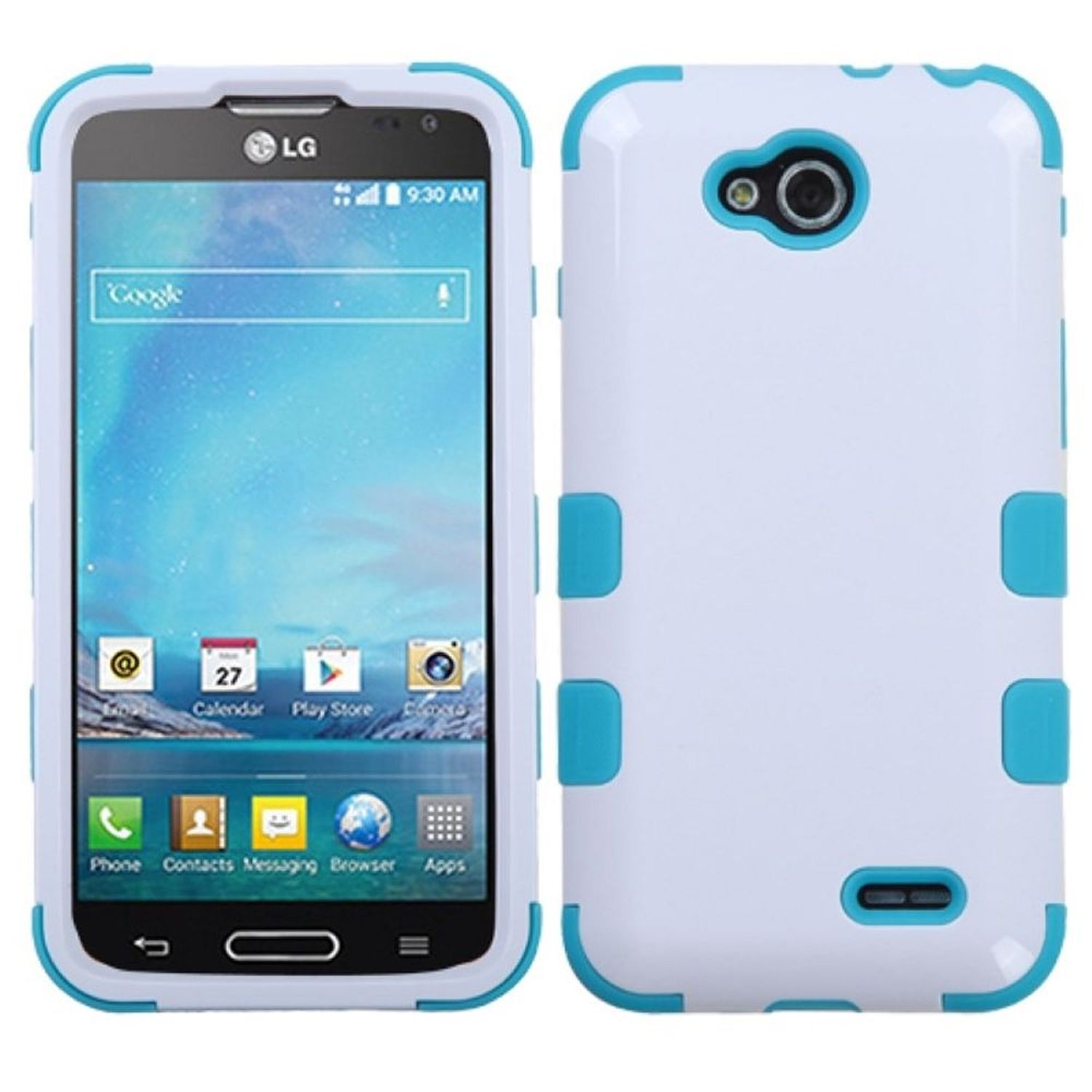 Insten Ivory White/Tropical Teal TUFF Hybrid Rugged Hard Shockproof Skin Case For LG D415 Optimus L90