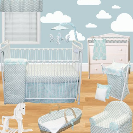 Sweet & Simple Aqua Blue 7 Piece Crib Bedding Set by Cotton Tale Designs