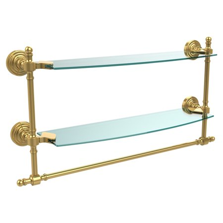- Allied Brass Retro Wave Two Tiered Glass Shelf with Integrated Towel Bar