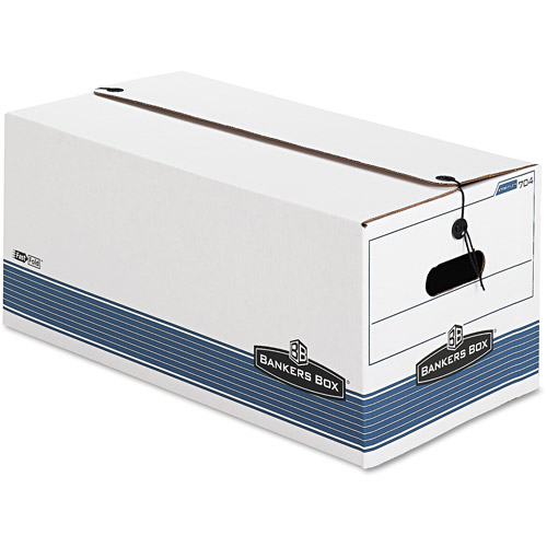 Bankers Box Stor/File Storage Box, String and Button, White, 4/Carton