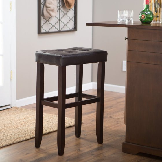 Palazzo 32 Inch Extra Tall Saddle Bar Stool Brown