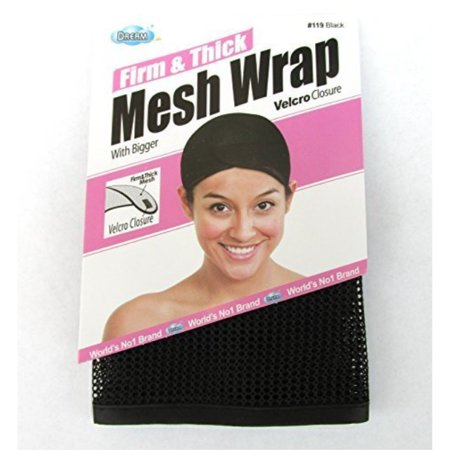 dream, firm & thick mesh wrap with velcro closure (item #119 black), one size, cool mesh fabric, mesh, fabric, comfortable, soft material, velcro closure, weave, hair extension, wig (Quick Weave Stocking Cap With Hair Left Out)