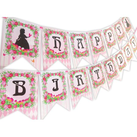 Princess Fairy Tale Happy Birthday Banner Pennant - Princess Birthday Banner