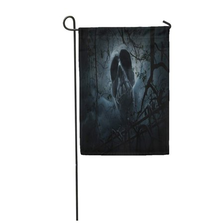 LADDKE Human Skull Old Fence Over Dead Tree Crow Moon and Cloudy Sky Spooky Halloween Garden Flag Decorative Flag House Banner 12x18 inch](Sky Garden Halloween)