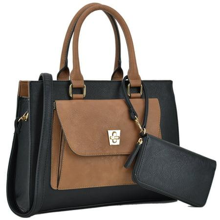 Dasein  Front Twist Lock Pocket Satchel Handbag and Matching (Twist Lock Satchel Handbag)