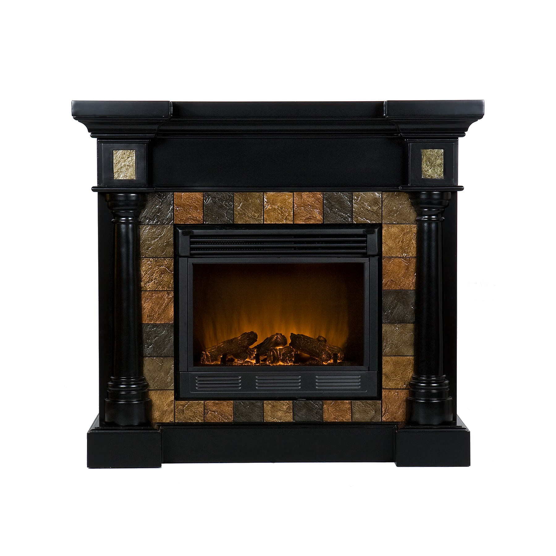 Southern Enterprises 37-251-023-0-01 Carrington Faux Slate Convertible Electric Fireplace - Black