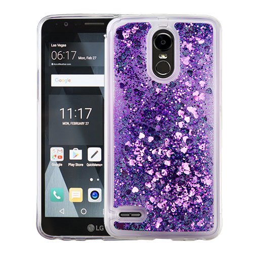 online store ee1cb aae48 LG Stylo 3 / LS777 / MP450 / TP450 Phone Case BLING Diamonds Hybrid Liquid  Glitter Quicksand Rubber Silicone TPU Protective Hard Cover - Purple Hearts  ...