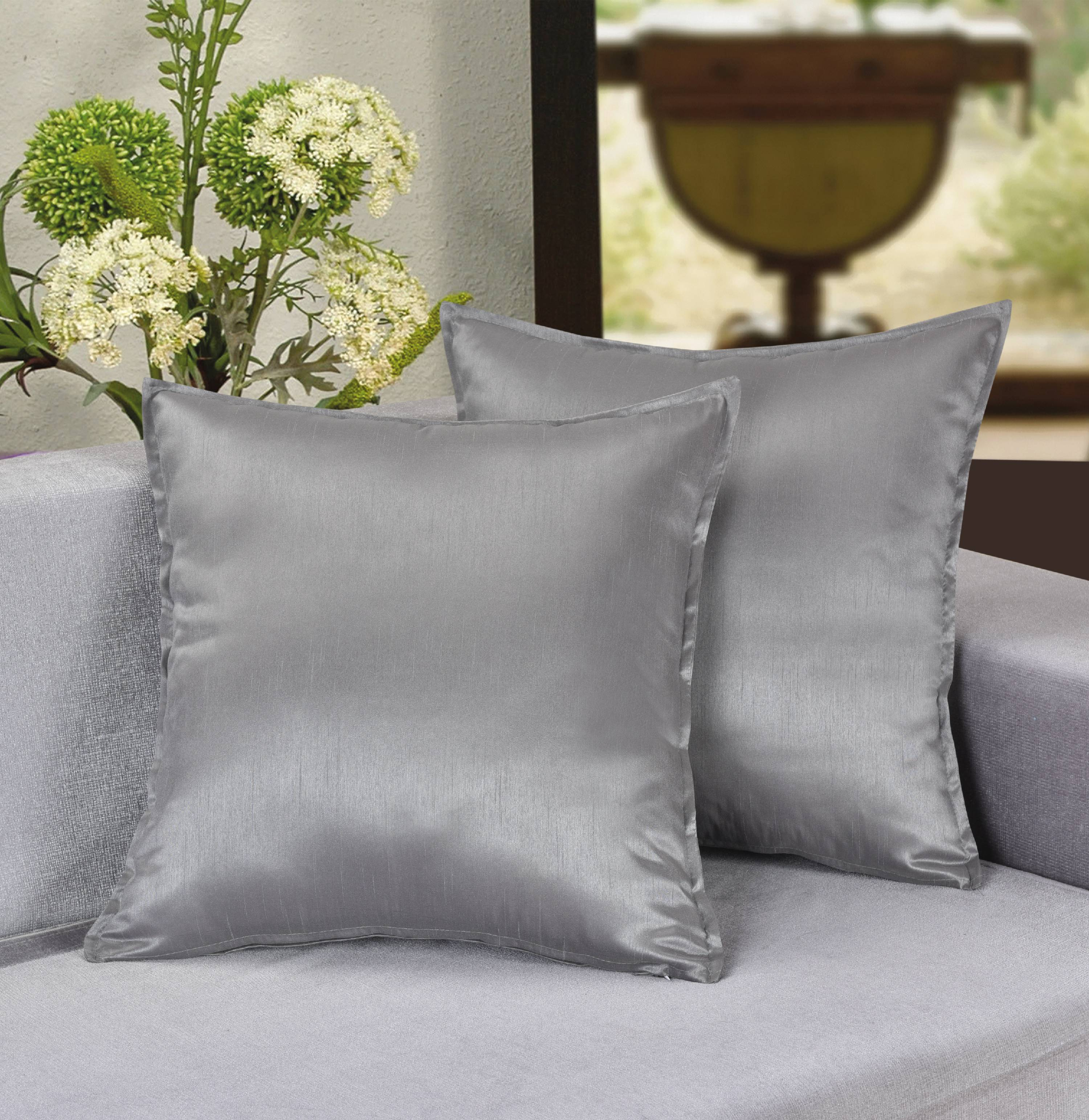 """Aiking Home 2 Pieces of 18""""x18"""" Solid Faux Silk Throw Pillow COVERs , Burgundy"""