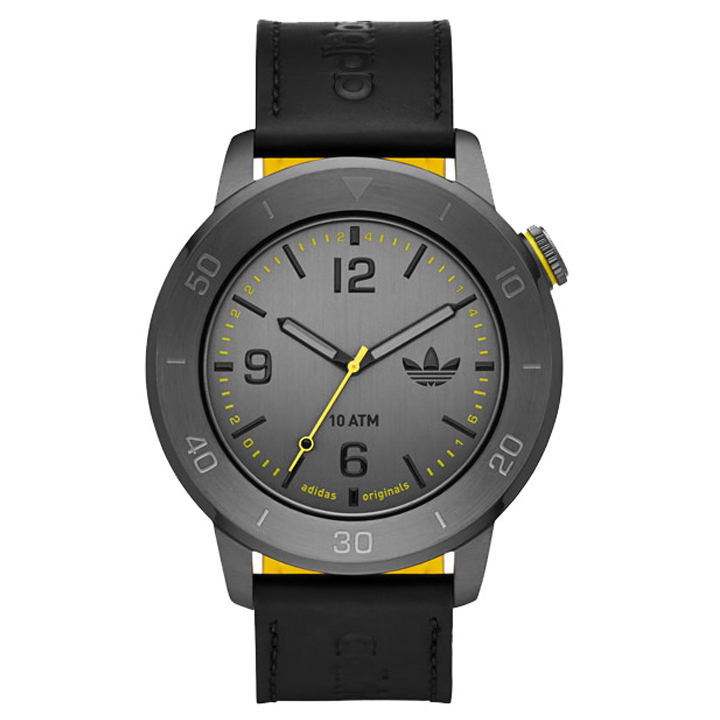 Adidas adh3027 46mm Ion Plated Stainless Steel Case Black Calfskin Mineral Men's Watch by Adidas