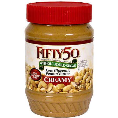 Low Glycemic Peanut Butter (Fifty50 Low-Glycemic Peanut Butter, 18 oz (Pack of 6) )