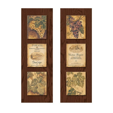 Wine Country Wine Label and Grape Panels;Two 8X20 Poster Prints (Printed on paper, made to look like wood) (Paper That Looks Like Wood)
