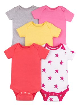 Short Sleeve Pure Organic True Brights Bodysuits, 5 Pk (Baby Girls)