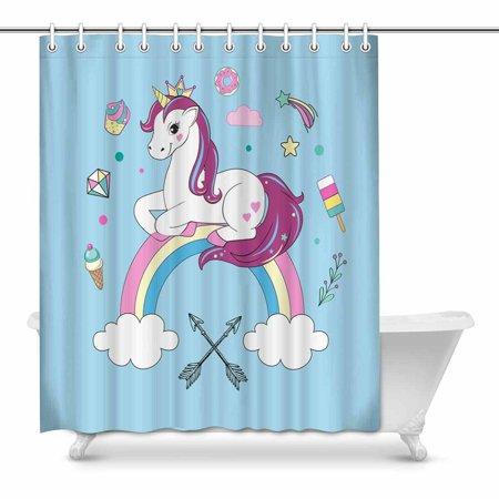 POP Unicorns on Blue Bathroom Shower Curtain 66x72 inch - image 1 of 1