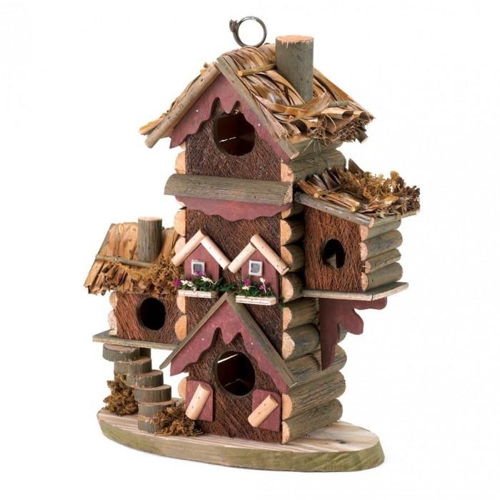 Chickadee Birdhouse, Wooden Hanging Outdoor Sparrow Finch Bird Houses For Kids